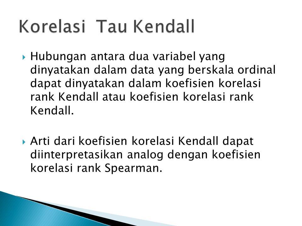  Hubungan antara dua variabel yang dinyatakan dalam data yang berskala ordinal dapat dinyatakan dalam koefisien korelasi rank Kendall atau koefisien