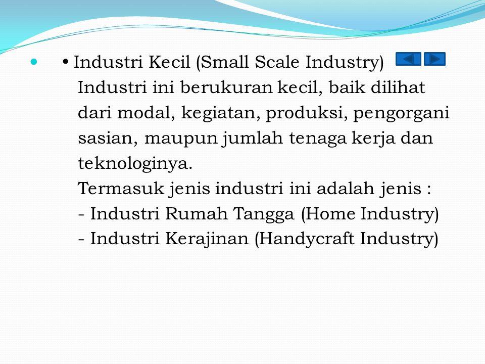  Industri Kecil (Small Scale Industry) Industri ini berukuran kecil, baik dilihat dari modal, kegiatan, produksi, pengorgani sasian, maupun jumlah te