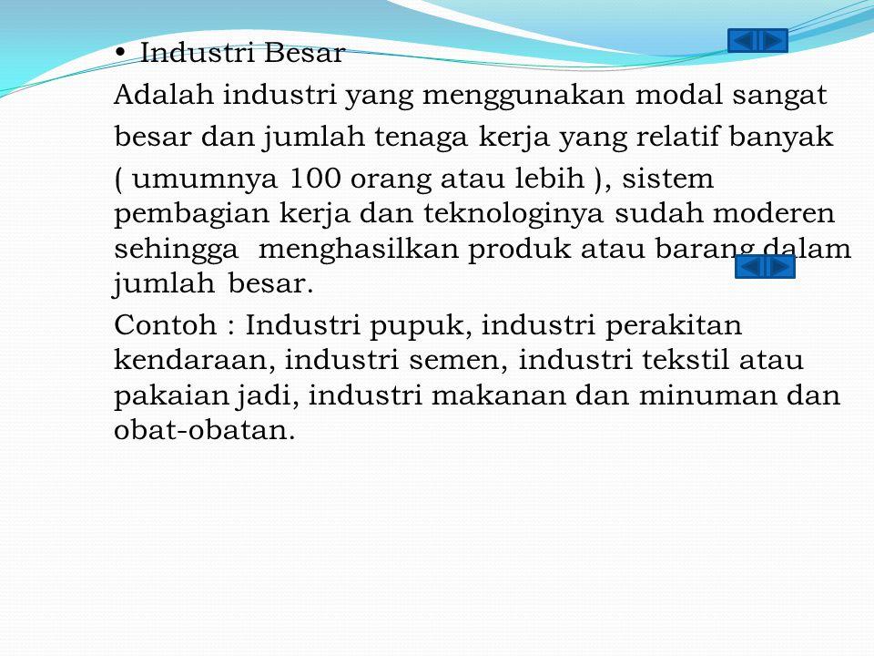  Industri Besar Adalah industri yang menggunakan modal sangat besar dan jumlah tenaga kerja yang relatif banyak ( umumnya 100 orang atau lebih ), sis
