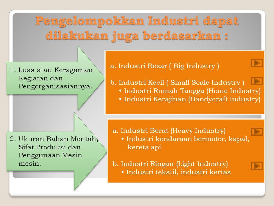 Pengelompokkan Industri dapat dilakukan juga berdasarkan : 1. Luas atau Keragaman Kegiatan dan Pengorganisasiannya. 1. Luas atau Keragaman Kegiatan da