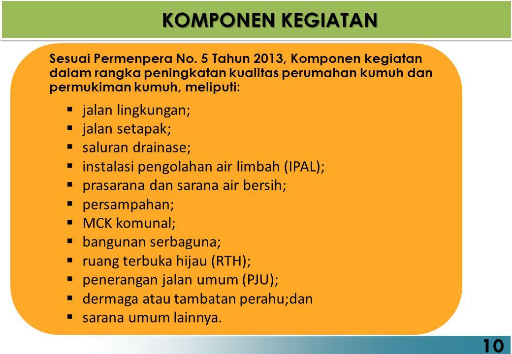 10 KOMPONEN KEGIATAN Sesuai Permenpera No. 5 Tahun 2013, Komponen kegiatan dalam rangka peningkatan kualitas perumahan kumuh dan permukiman kumuh, mel