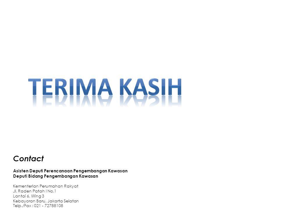 Contact Asisten Deputi Perencanaan Pengembangan Kawasan Deputi Bidang Pengembangan Kawasan Kementerian Perumahan Rakyat Jl. Raden Patah I No.1 Lantai