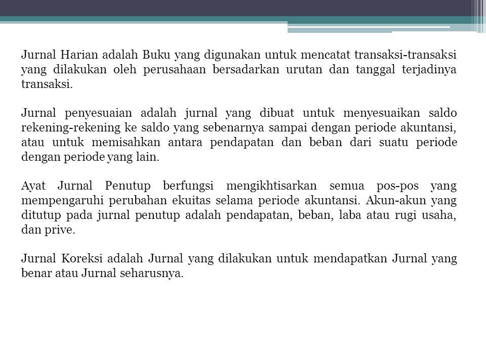 Jurnal Harian adalah Buku yang digunakan untuk mencatat transaksi-transaksi yang dilakukan oleh perusahaan bersadarkan urutan dan tanggal terjadinya t