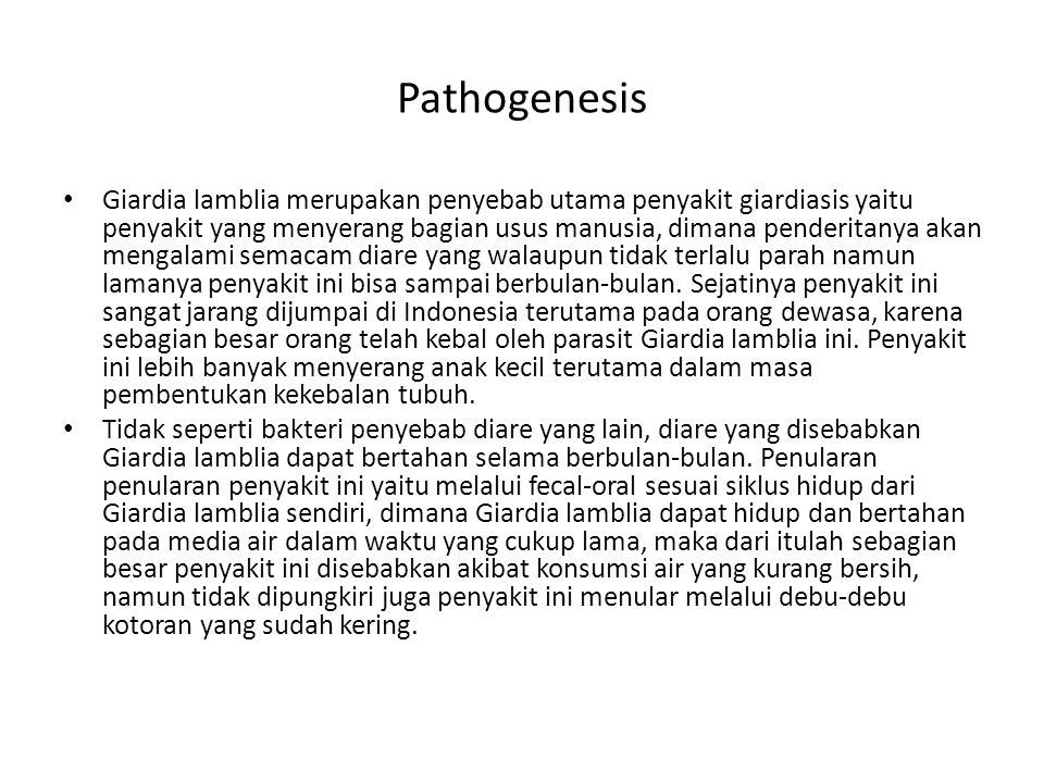Pathogenesis Giardia lamblia merupakan penyebab utama penyakit giardiasis yaitu penyakit yang menyerang bagian usus manusia, dimana penderitanya akan