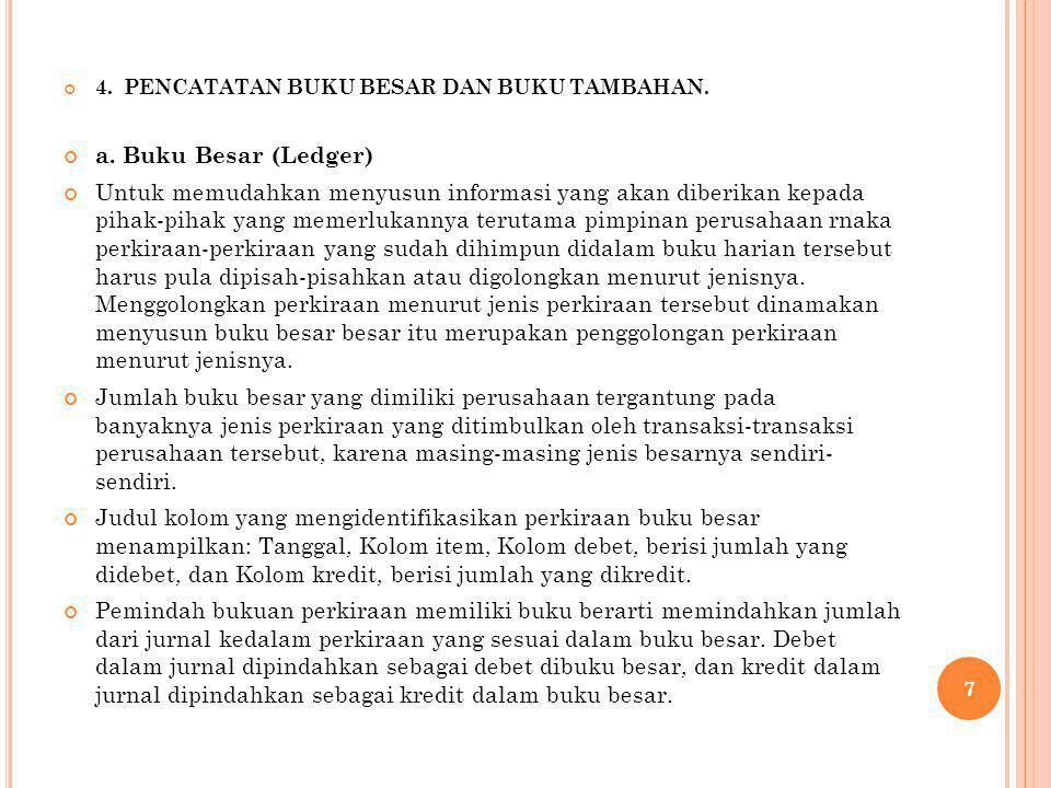 4. PENCATATAN BUKU BESAR DAN BUKU TAMBAHAN. a. Buku Besar (Ledger) Untuk memudahkan menyusun informasi yang akan diberikan kepada pihak-pihak yang mem