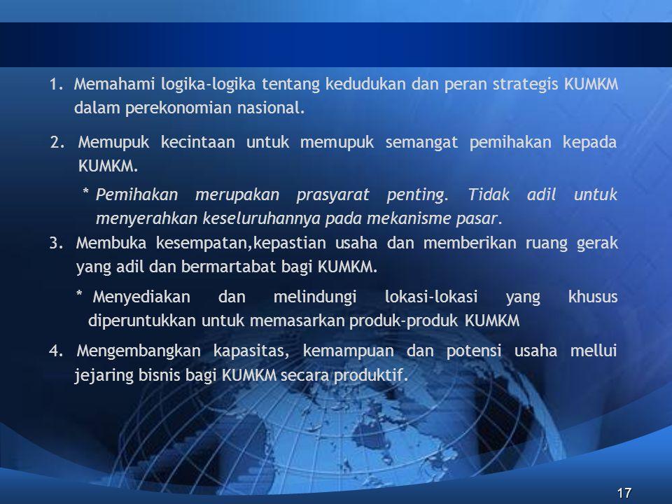 17 1.Memahami logika-logika tentang kedudukan dan peran strategis KUMKM dalam perekonomian nasional. 2.Memupuk kecintaan untuk memupuk semangat pemiha