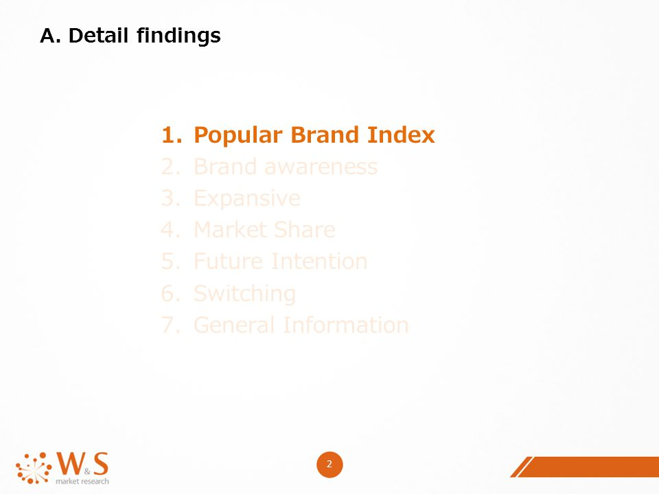 2 A. Detail findings 1.Popular Brand Index 2.Brand awareness 3.Expansive 4.Market Share 5.Future Intention 6.Switching 7.General Information