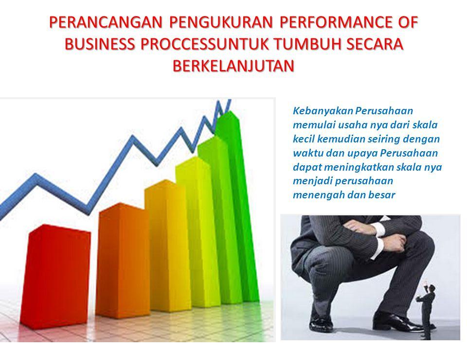 PERANCANGAN PENGUKURAN PERFORMANCE OF BUSINESS PROCCESSUNTUK TUMBUH SECARA BERKELANJUTAN Kebanyakan Perusahaan memulai usaha nya dari skala kecil kemu
