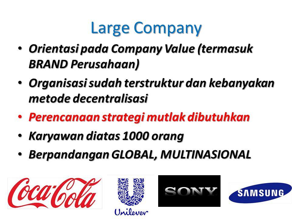 Large Company Orientasi pada Company Value (termasuk BRAND Perusahaan) Orientasi pada Company Value (termasuk BRAND Perusahaan) Organisasi sudah terst