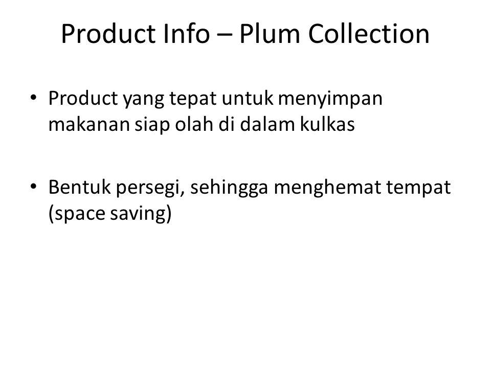 Product Info – Plum Collection Product yang tepat untuk menyimpan makanan siap olah di dalam kulkas Bentuk persegi, sehingga menghemat tempat (space saving)