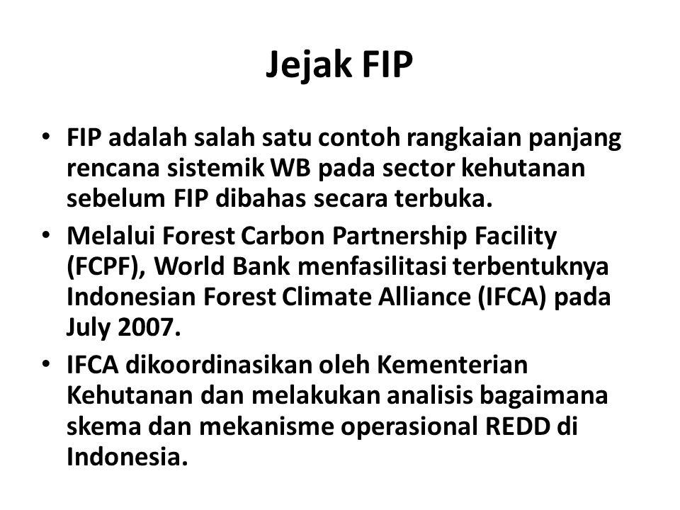 Jejak FIP FIP adalah salah satu contoh rangkaian panjang rencana sistemik WB pada sector kehutanan sebelum FIP dibahas secara terbuka.