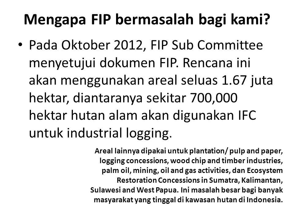 Mengapa FIP bermasalah bagi kami. Pada Oktober 2012, FIP Sub Committee menyetujui dokumen FIP.