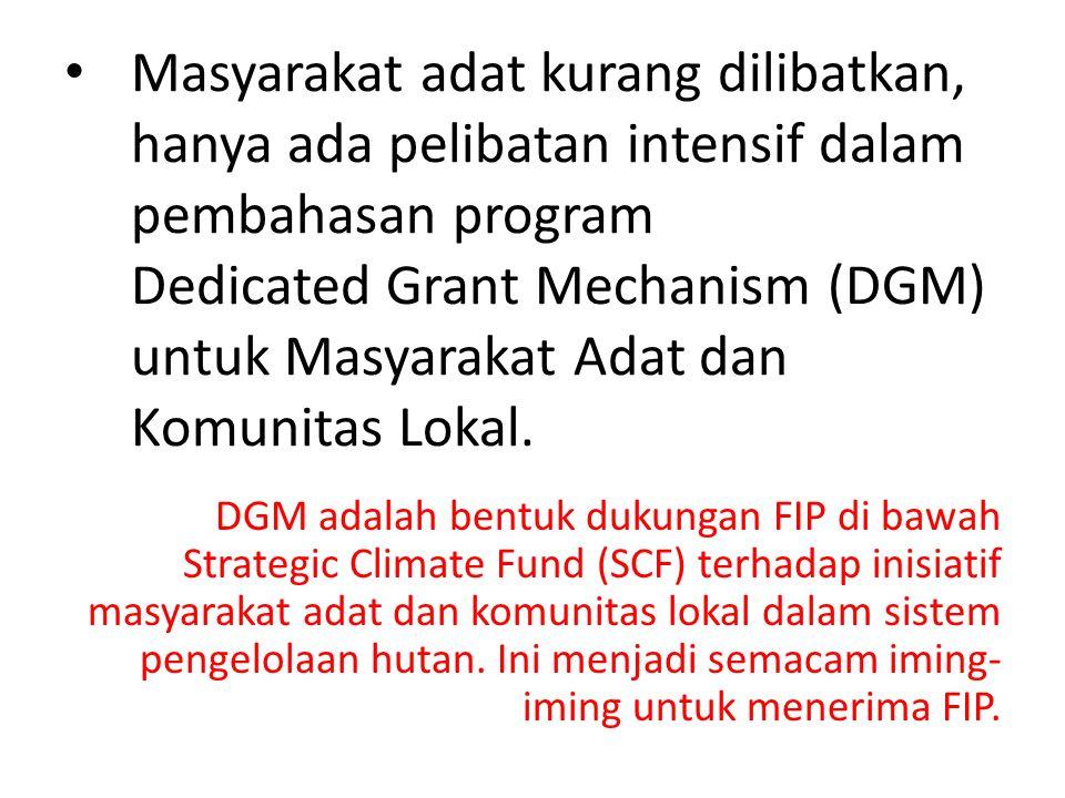Masyarakat adat kurang dilibatkan, hanya ada pelibatan intensif dalam pembahasan program Dedicated Grant Mechanism (DGM) untuk Masyarakat Adat dan Komunitas Lokal.