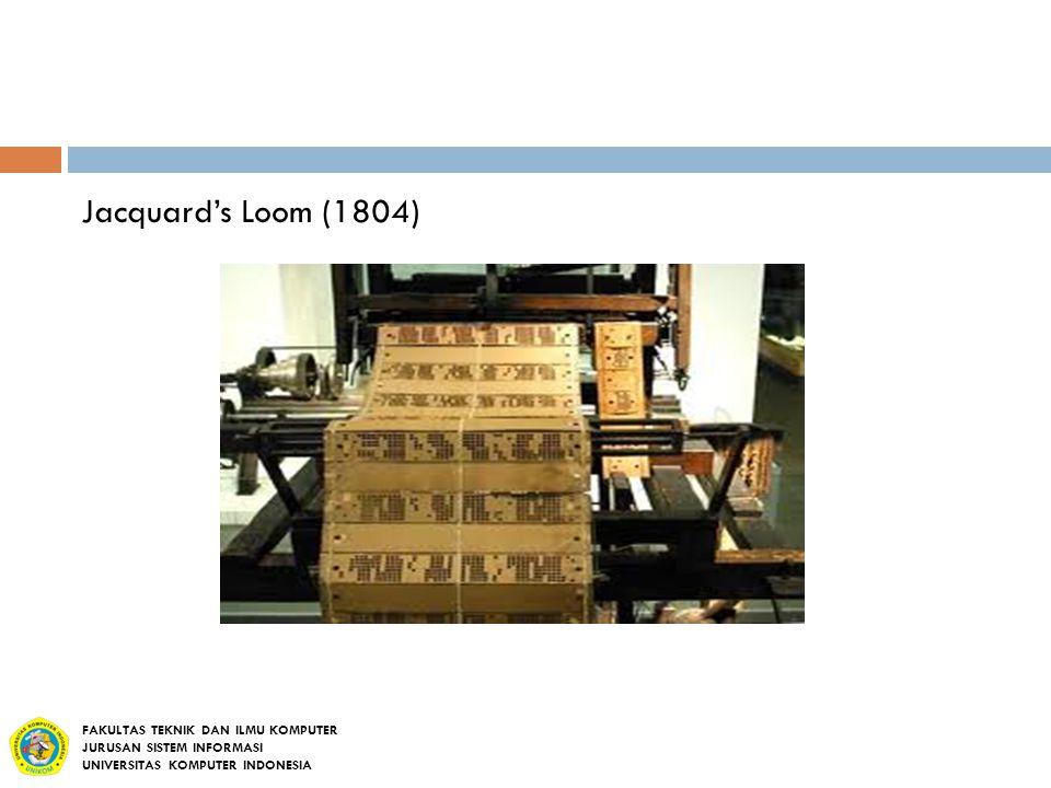Jacquard's Loom (1804) FAKULTAS TEKNIK DAN ILMU KOMPUTER JURUSAN SISTEM INFORMASI UNIVERSITAS KOMPUTER INDONESIA