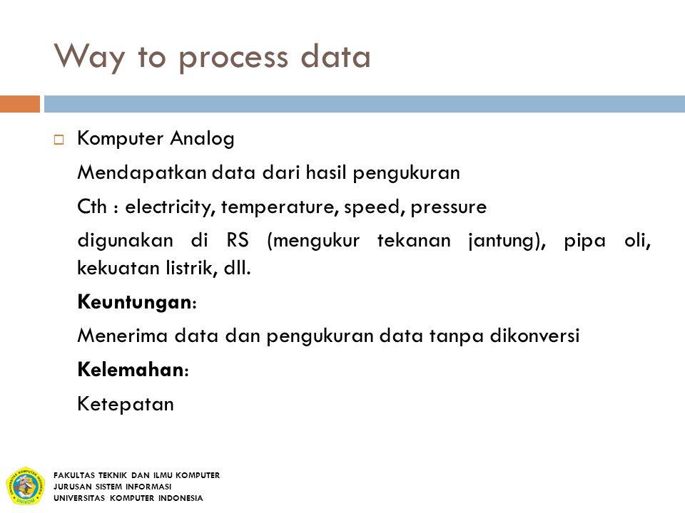 Way to process data  Komputer Analog Mendapatkan data dari hasil pengukuran Cth : electricity, temperature, speed, pressure digunakan di RS (mengukur