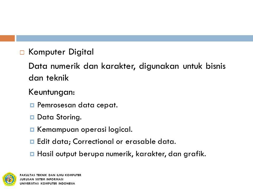  Komputer Digital Data numerik dan karakter, digunakan untuk bisnis dan teknik Keuntungan:  Pemrosesan data cepat.  Data Storing.  Kemampuan opera