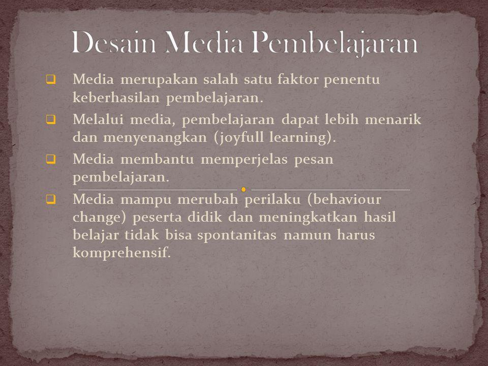  Media merupakan salah satu faktor penentu keberhasilan pembelajaran.