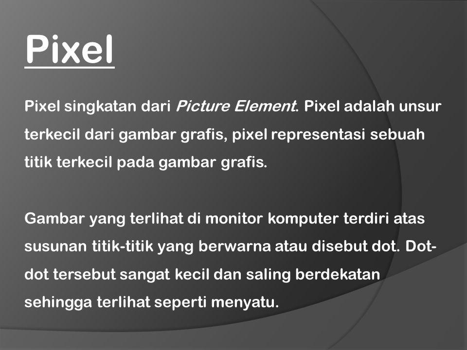 Pixel singkatan dari Picture Element. Pixel adalah unsur terkecil dari gambar grafis, pixel representasi sebuah titik terkecil pada gambar grafis. Gam