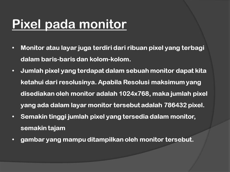 Monitor atau layar juga terdiri dari ribuan pixel yang terbagi dalam baris-baris dan kolom-kolom. Jumlah pixel yang terdapat dalam sebuah monitor dapa