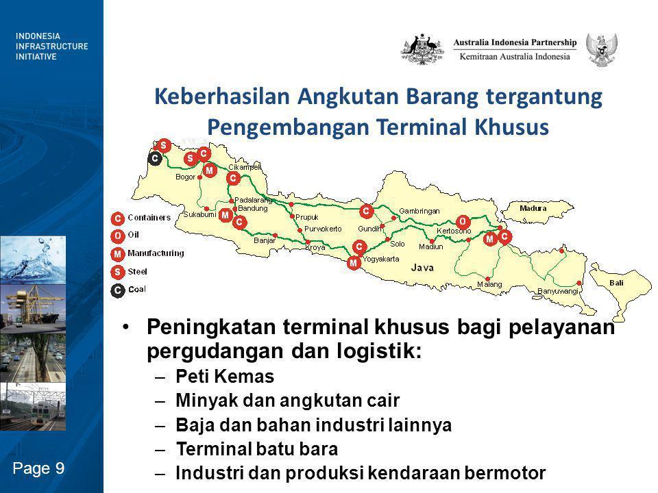 Page 9 Keberhasilan Angkutan Barang tergantung Pengembangan Terminal Khusus Peningkatan terminal khusus bagi pelayanan pergudangan dan logistik: –Peti
