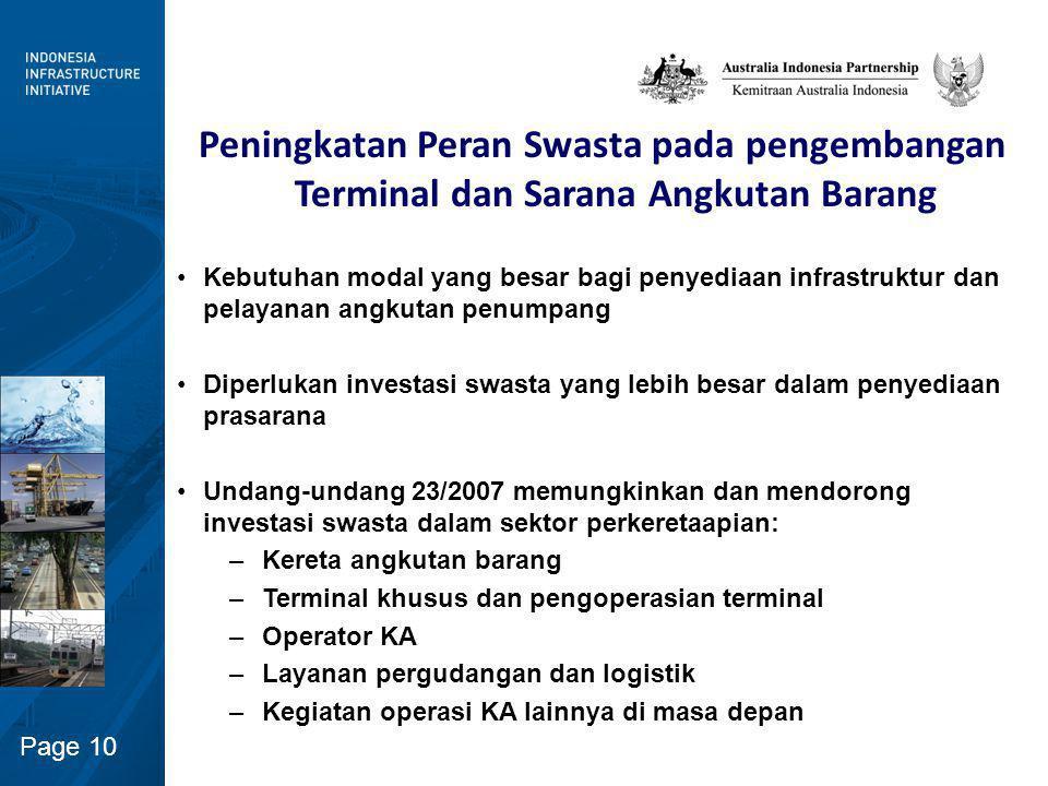 Page 10 Peningkatan Peran Swasta pada pengembangan Terminal dan Sarana Angkutan Barang Kebutuhan modal yang besar bagi penyediaan infrastruktur dan pe