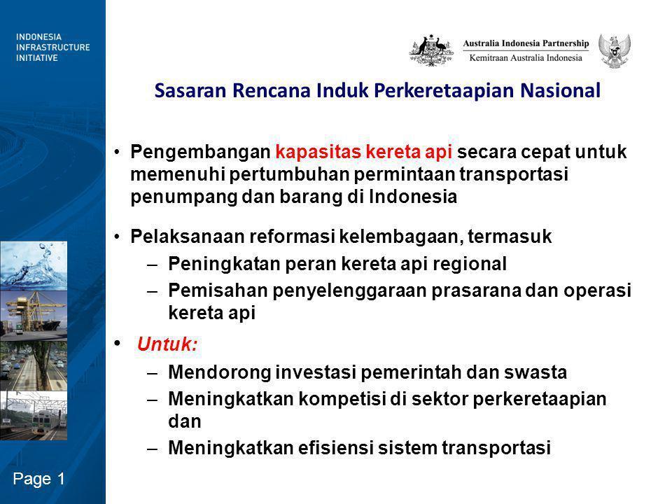 Page 1 Sasaran Rencana Induk Perkeretaapian Nasional Pengembangan kapasitas kereta api secara cepat untuk memenuhi pertumbuhan permintaan transportasi