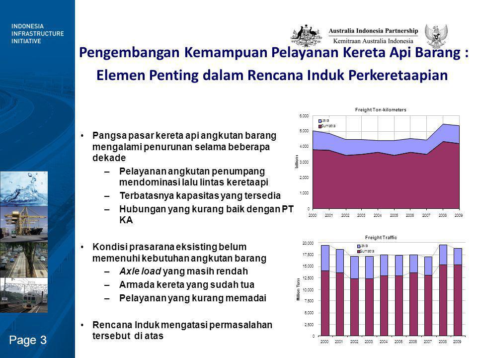 Page 3 Freight Traffic 0 2,500 5,000 7,500 10,000 12,500 15,000 17,500 20,000 2000200120022003200420052006200720082009 Million Tons Java Sumatra Freig