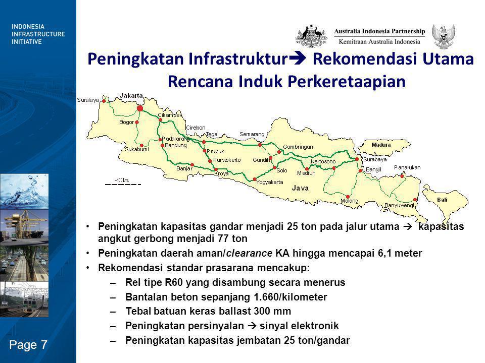 Page 8 Usulan Peningkatan Prasarana  perubahan Kegiatan Operasi Kereta Api Kereta api penumpang cepat (High-Speed passenger trains) yang diusulkan untuk jalur pantai utara –Kecepatan maksimum 150 km/jam –Frekuensi keberangkatan per jam dan per 30 menit pada periode sibuk Kereta api penumpang berkecepatan tinggi (Higher-speed passenger trains) pada jalur Bandung – Yogyakarta  dapat menggunakan tilt-trains –Peningkatan frekuensi –Gerbong bertingkat (Bi-level) untuk kapasitas yang lebih besar Peningkatan kapasitas untuk pelayanan angkutan barang yang lebih banyak, lebih besar, dan lebih cepat