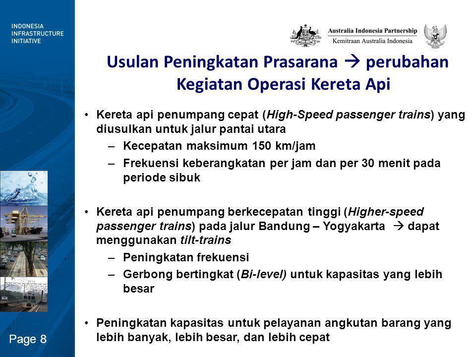 Page 8 Usulan Peningkatan Prasarana  perubahan Kegiatan Operasi Kereta Api Kereta api penumpang cepat (High-Speed passenger trains) yang diusulkan un