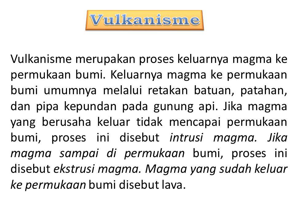 Vulkanisme merupakan proses keluarnya magma ke permukaan bumi. Keluarnya magma ke permukaan bumi umumnya melalui retakan batuan, patahan, dan pipa kep