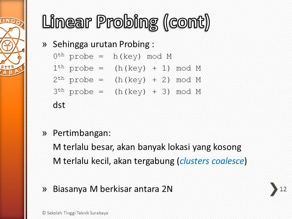 » Sehingga urutan Probing : 0 th probe = h(key) mod M 1 th probe = (h(key) + 1) mod M 2 th probe = (h(key) + 2) mod M 3 th probe = (h(key) + 3) mod M dst » Pertimbangan: M terlalu besar, akan banyak lokasi yang kosong M terlalu kecil, akan tergabung (clusters coalesce) » Biasanya M berkisar antara 2N 12 © Sekolah Tinggi Teknik Surabaya
