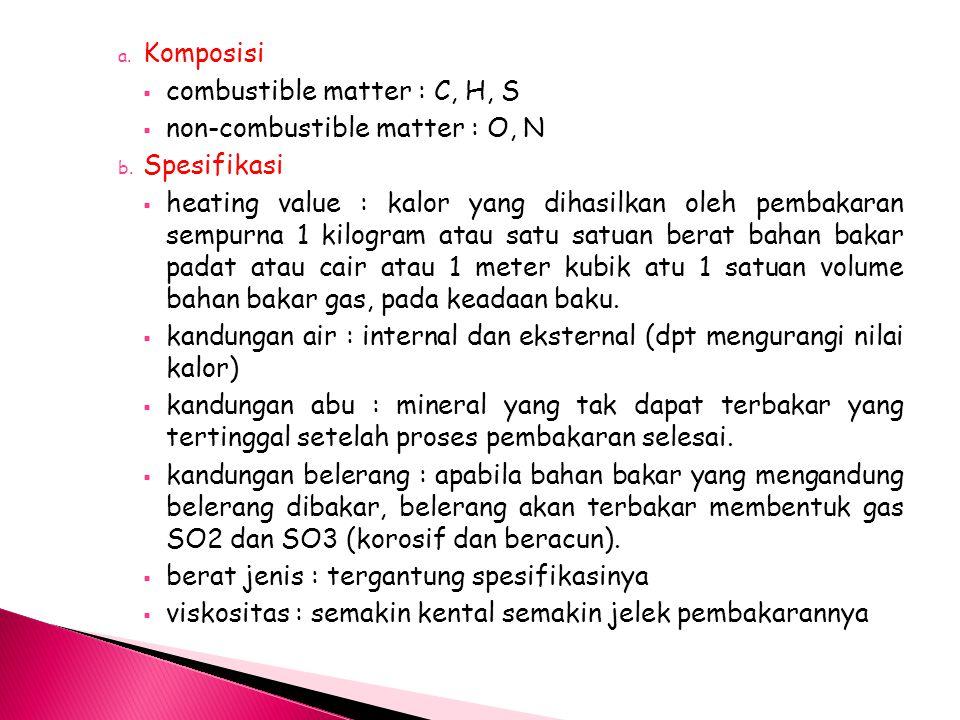 a. Komposisi  combustible matter : C, H, S  non-combustible matter : O, N b. Spesifikasi  heating value : kalor yang dihasilkan oleh pembakaran sem