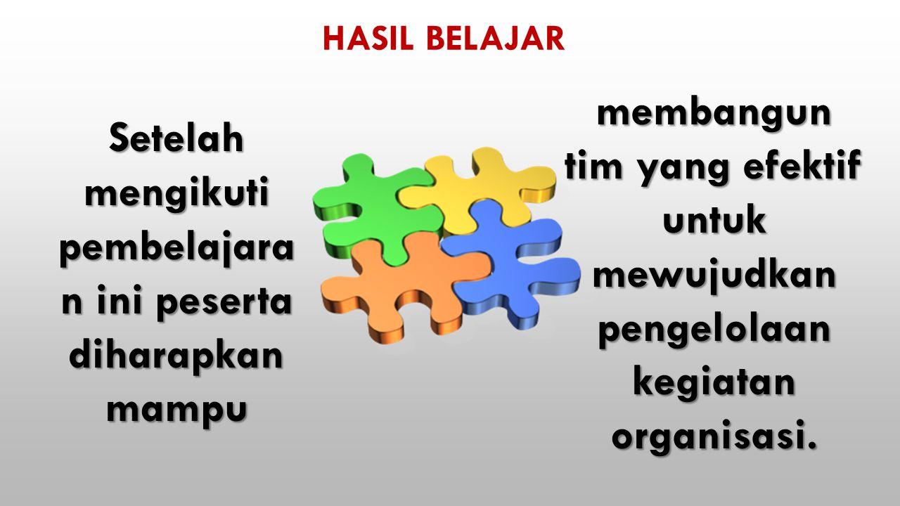 HASIL BELAJAR membangun tim yang efektif untuk mewujudkan pengelolaan kegiatan organisasi.