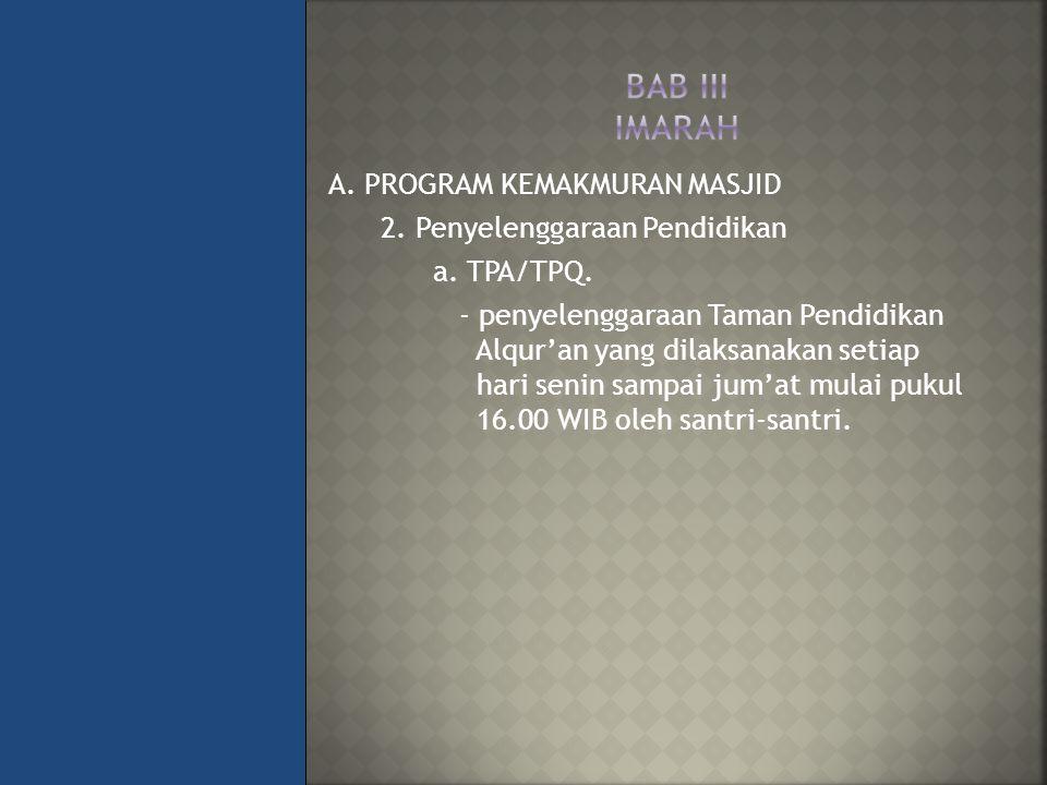 A.PROGRAM KEMAKMURAN MASJID 2. Penyelenggaraan Pendidikan a.