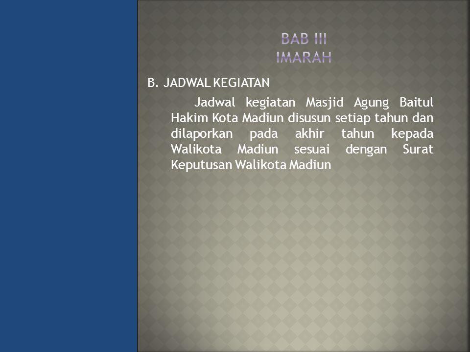 B. JADWAL KEGIATAN Jadwal kegiatan Masjid Agung Baitul Hakim Kota Madiun disusun setiap tahun dan dilaporkan pada akhir tahun kepada Walikota Madiun s