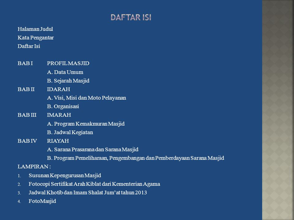 Halaman Judul Kata Pengantar Daftar Isi BAB IPROFIL MASJID A.