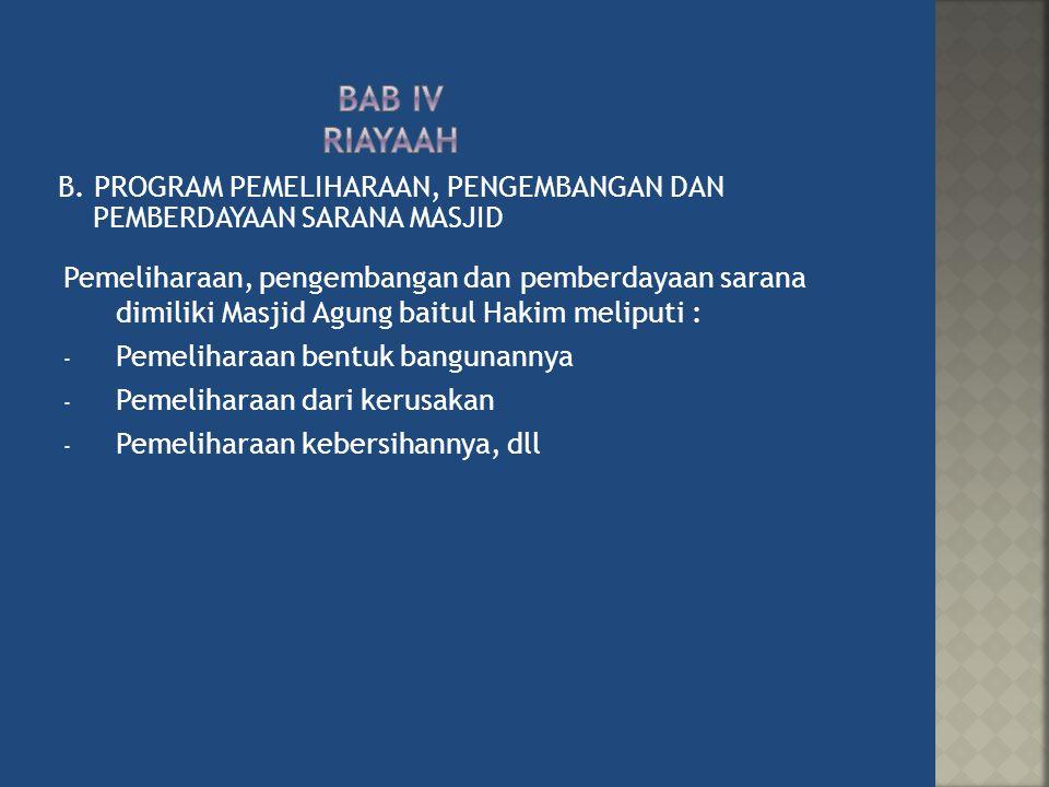 B. PROGRAM PEMELIHARAAN, PENGEMBANGAN DAN PEMBERDAYAAN SARANA MASJID Pemeliharaan, pengembangan dan pemberdayaan sarana dimiliki Masjid Agung baitul H