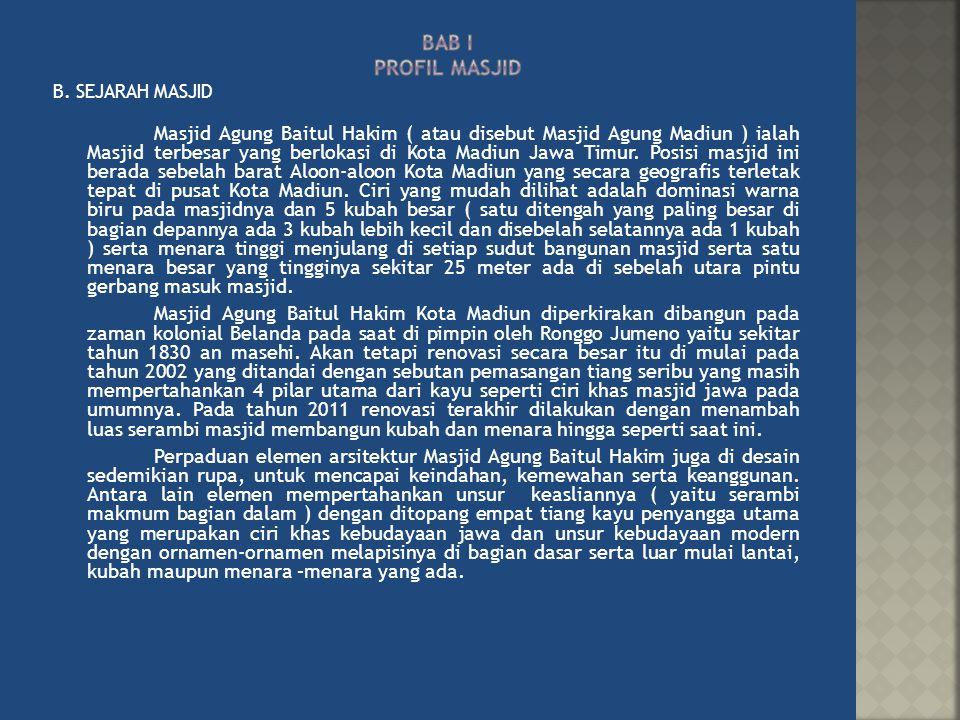 B. SEJARAH MASJID Masjid Agung Baitul Hakim ( atau disebut Masjid Agung Madiun ) ialah Masjid terbesar yang berlokasi di Kota Madiun Jawa Timur. Posis