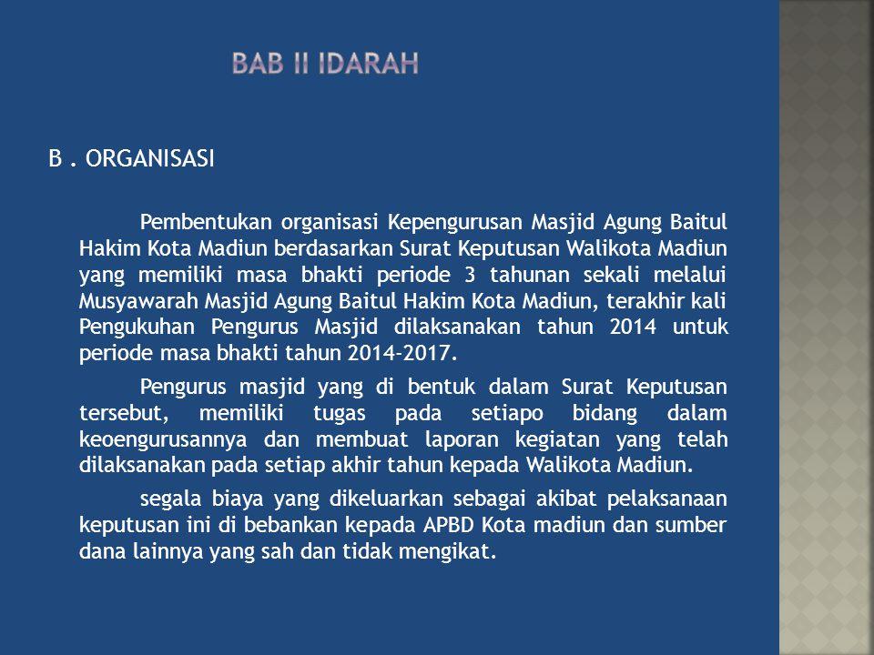 B. ORGANISASI Pembentukan organisasi Kepengurusan Masjid Agung Baitul Hakim Kota Madiun berdasarkan Surat Keputusan Walikota Madiun yang memiliki masa