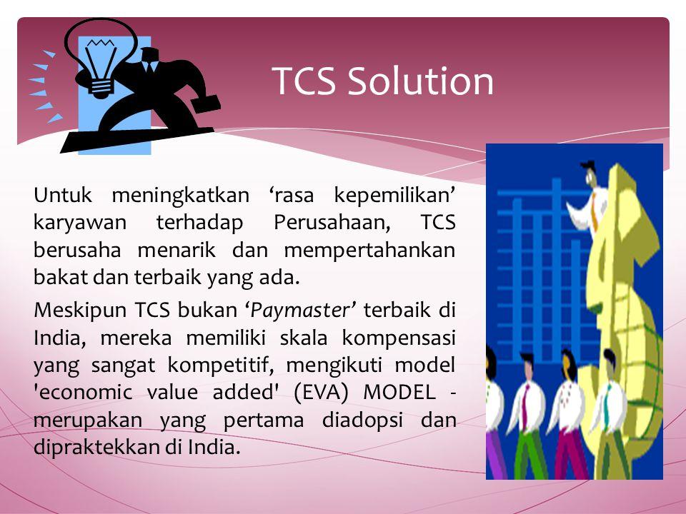 Untuk meningkatkan 'rasa kepemilikan' karyawan terhadap Perusahaan, TCS berusaha menarik dan mempertahankan bakat dan terbaik yang ada.