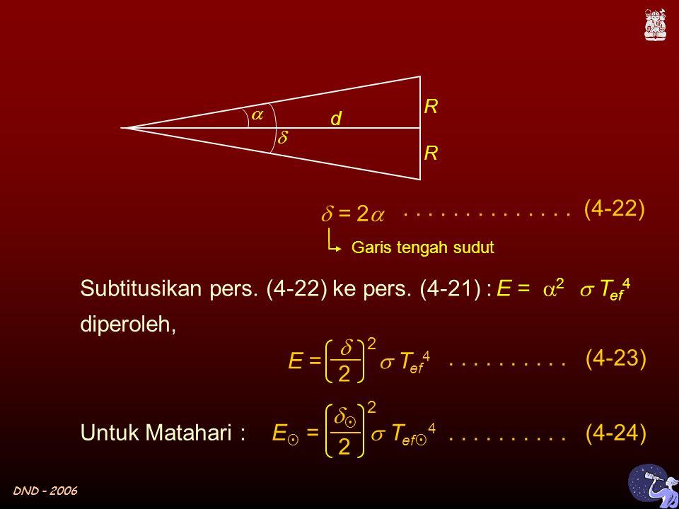 DND - 2006  R d   = 2  Garis tengah sudut Untuk Matahari : E =  T ef 4  2 2 E  =  T ef  4  2 2..........
