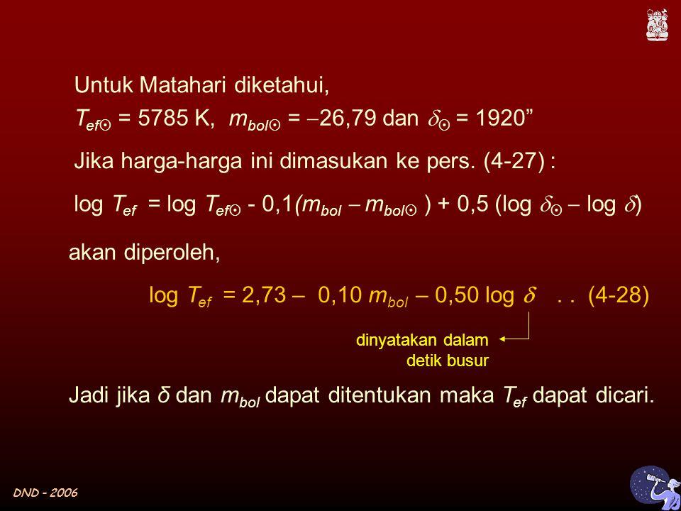 DND - 2006 Untuk Matahari diketahui, T ef  = 5785 K, m bol  =  26,79 dan   = 1920 log T ef = log T ef  - 0,1(m bol  m bol  ) + 0,5 (log    log  ) Jika harga-harga ini dimasukan ke pers.