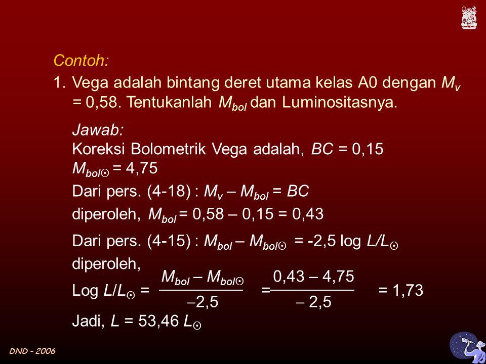 DND - 2006 Contoh: 1.Vega adalah bintang deret utama kelas A0 dengan M v = 0,58.