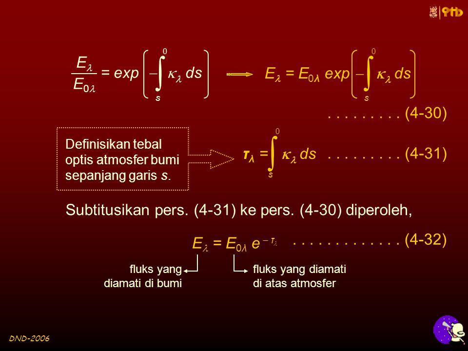 DND-2006  s 0 = exp   ds E E 0  s 0 E = E 0λ exp   ds Definisikan tebal optis atmosfer bumi sepanjang garis s.