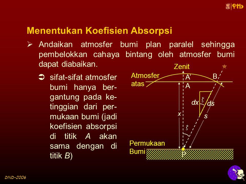 DND-2006 Menentukan Koefisien Absorpsi  Andaikan atmosfer bumi plan paralel sehingga pembelokkan cahaya bintang oleh atmosfer bumi dapat diabaikan.