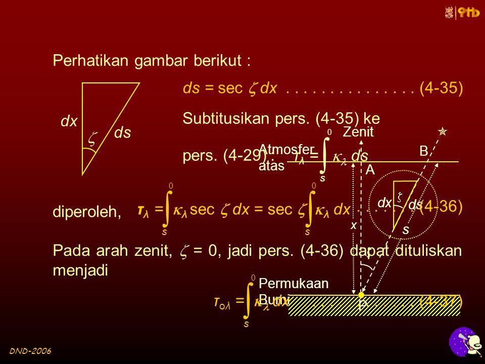 DND-2006 dx ds   Zenit Atmosfer atas Permukaan Bumi P  x s A B Perhatikan gambar berikut : dx ds  ds = sec  dx...............