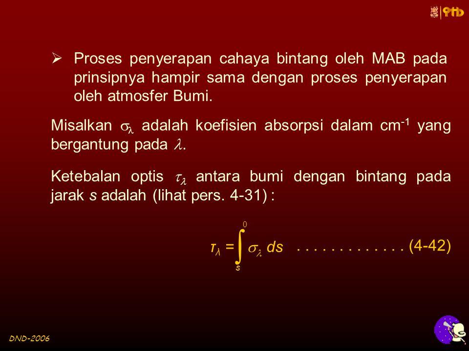 DND-2006  Proses penyerapan cahaya bintang oleh MAB pada prinsipnya hampir sama dengan proses penyerapan oleh atmosfer Bumi.
