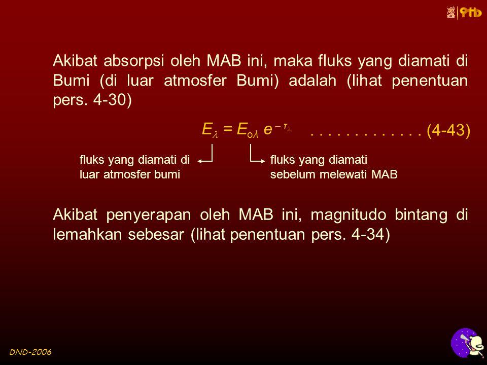 DND-2006 Akibat absorpsi oleh MAB ini, maka fluks yang diamati di Bumi (di luar atmosfer Bumi) adalah (lihat penentuan pers.