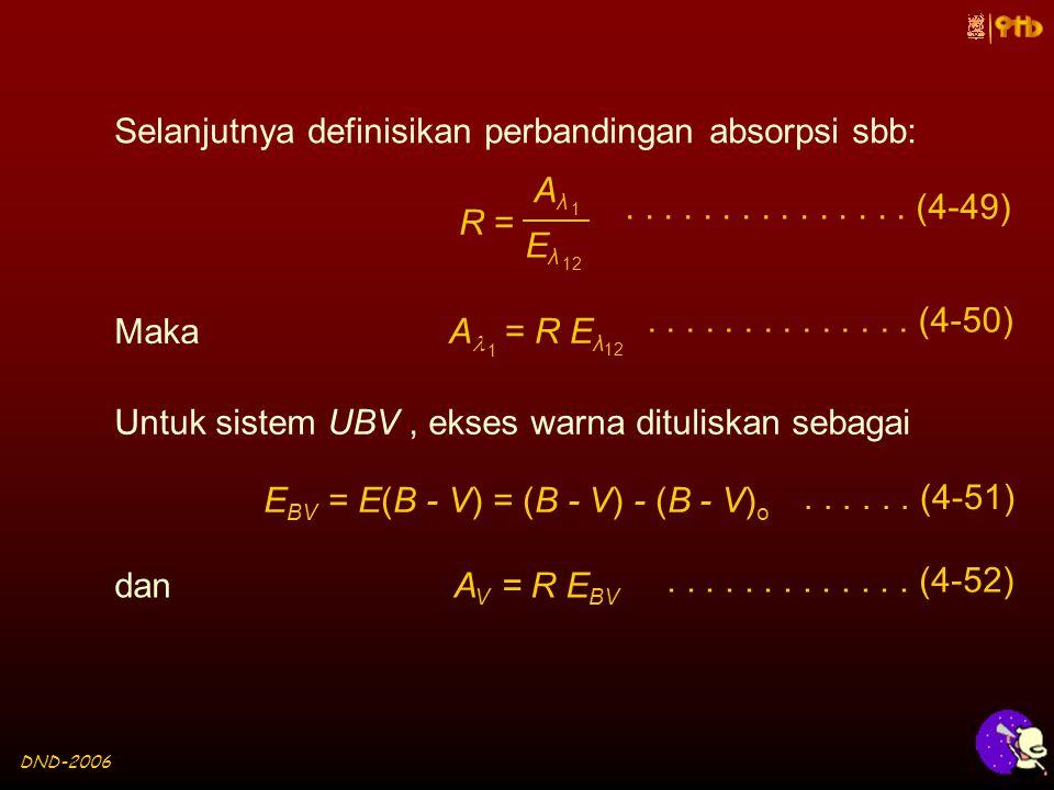 DND-2006 Selanjutnya definisikan perbandingan absorpsi sbb: R = AλAλ 1 EλEλ 12...............