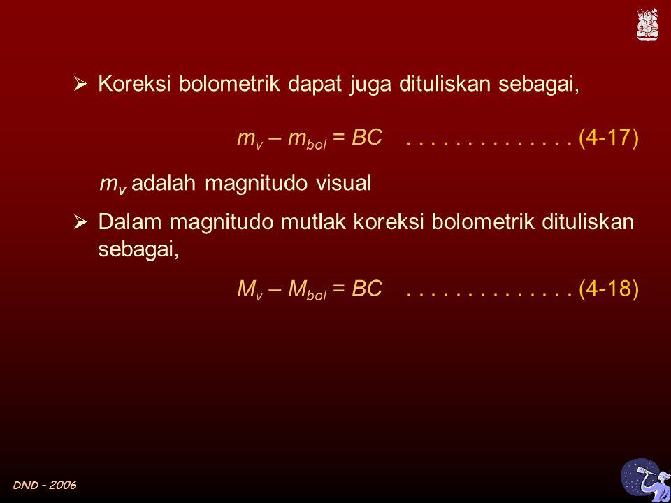 DND - 2006  Koreksi bolometrik dapat juga dituliskan sebagai, m v – m bol = BC..............
